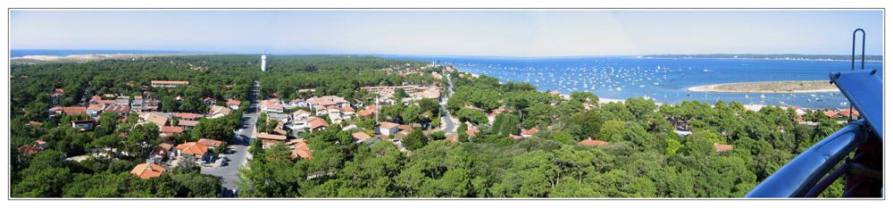 BLOG-Panorama nord du phare Cap-Ferret-Océan+Bassin