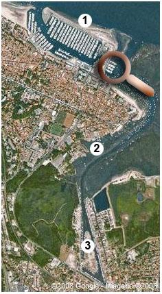 Ports Arcachon et La Teste + légende + loupe