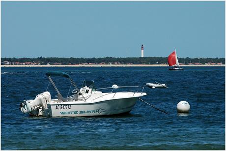 BLOG-DSC_3533-hors-bord, voilier spi rouge et phare Cap-Ferret