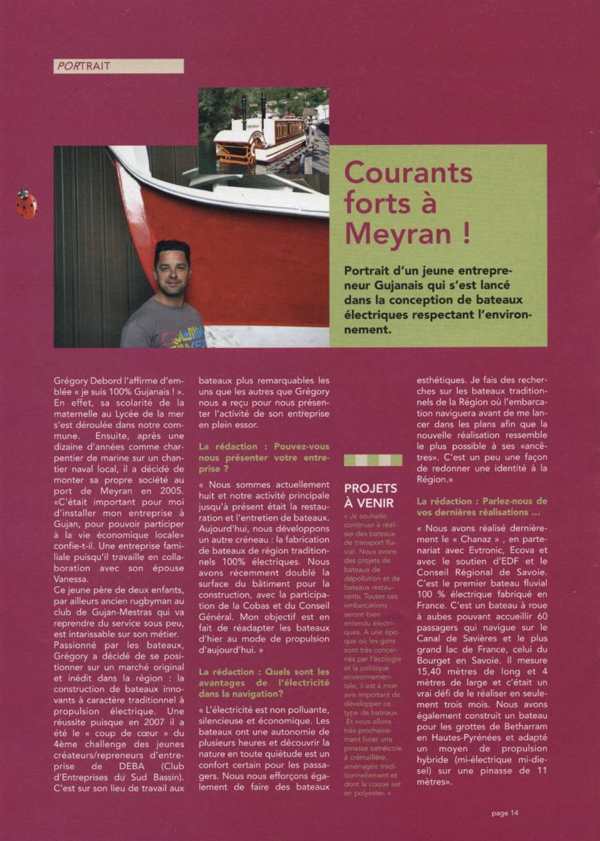 """""""courants forts à Meyran !"""" - Article du magazine de Gujan-Mestras -Juillet 2009"""