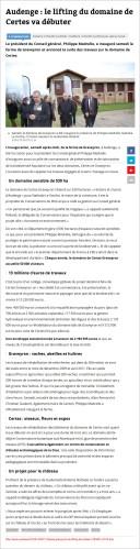 Audenge, le lifting du domaine de Certes va débuter - Sud-Ouest du 17 Février 2014