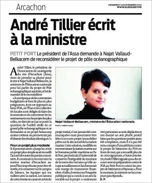 André Tillier écrit à la ministre - Sud-Ouest du 14 Nov 2014