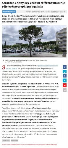 Anny Bey veut un référendum sur le POA - Sud-Ouest du 23 Juillet 2014
