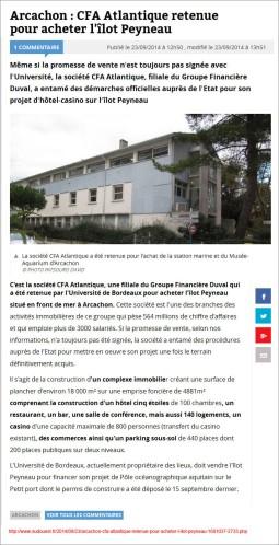 Arcachon - CFA Atlantique retenue pour acheter l'îlot Peyneau - Sud-Ouest du 23 Septembre 2014
