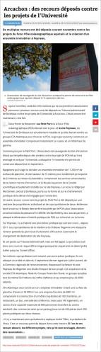 Arcachon - des recours déposés contre les projets de l'Université - Sud-Ouest du 25 Novembre 2014