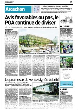 Avis favorables ou pas, le POA continue de diviser - La promesse de vente site Peyneau signée cet été - P17 Sud-Ouest du 23 Juillet 2014
