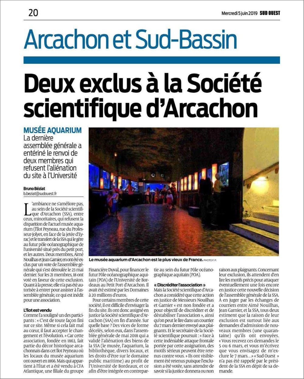 Deux exclus à la Société Scientifique d'Arcachon - Sud-Ouest du 5 Juin 2019
