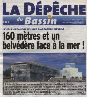 Le futur pôle océanographique dévoilé - Titre Dépêche du Bassin 29 Nov au 5 Déc 2012