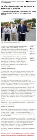 Le pôle océanographique aquitain a le soutien de la ministre - Sud-Ouest du 14 Septembre 2013