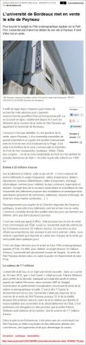 L'université de Bordeaux met en vente le site de Peyneau