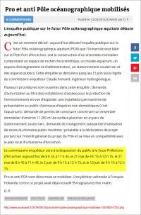 Pro et anti Pôle océanographique mobilisés - Sud-Ouest du 12 Mai 2014