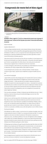 Sud-Ouest du 30 Mai 2015 - Peyneau : compromis de vente bel et bien signé