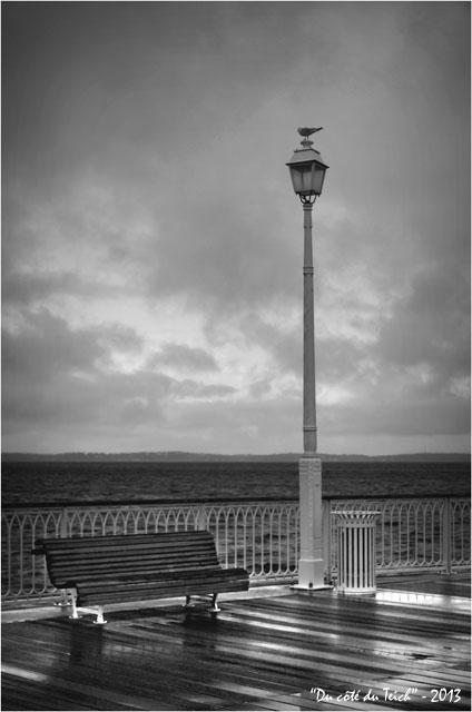 BLOG-DSC_18927-banc reverbère mouette et pluie jetée Thiers Arcachon N&B