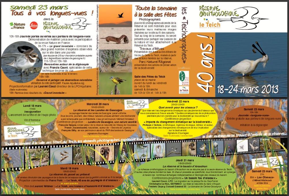 Plaquette 40 ans Réserve ornithologique le Teich Mars 2013