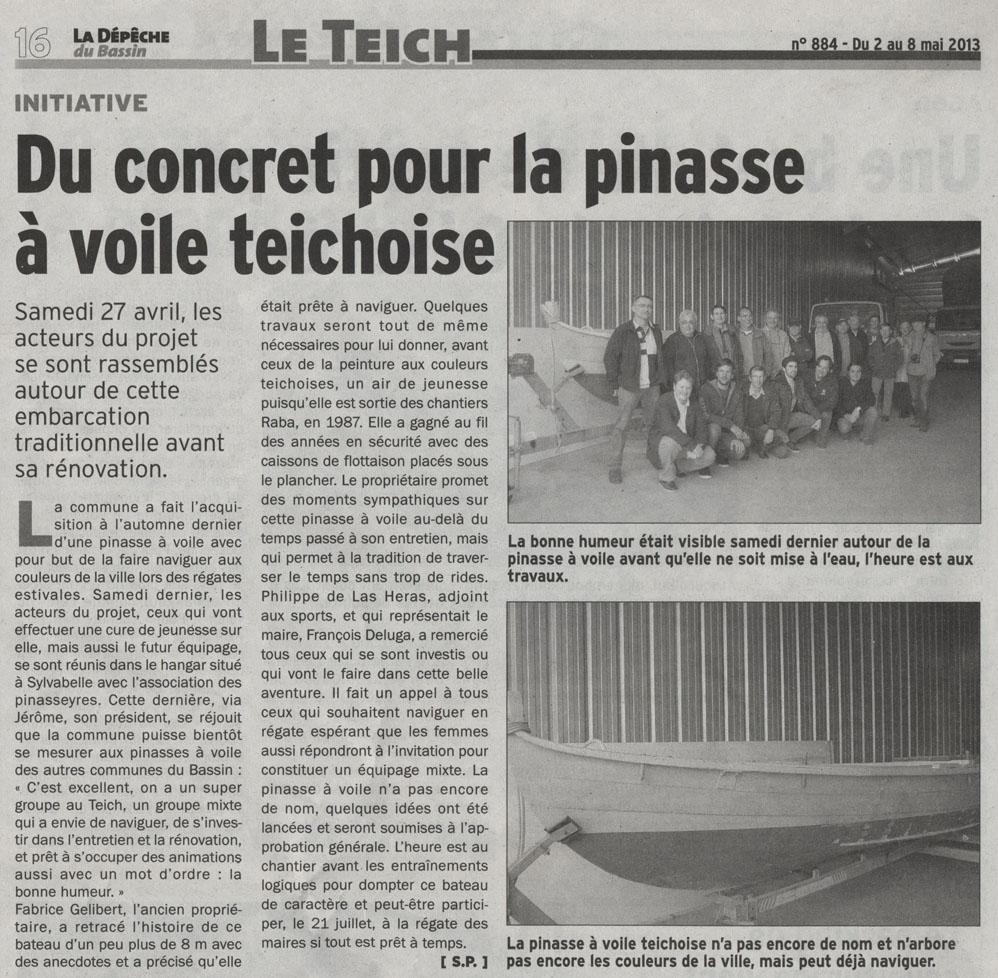 Du concret pour la pinasse à voile teichoise- Dépêche du Bassin 2 Mai 2013