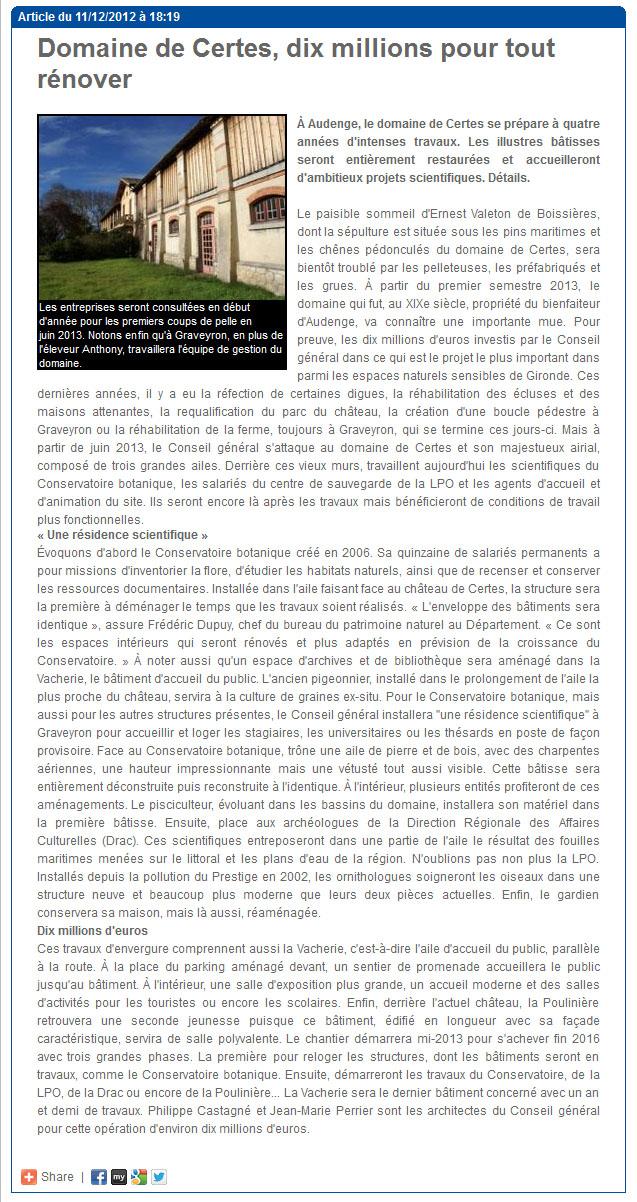 Domaine de Certes, dix millions pour tout rénover - LDDB 11 Décembre 2012
