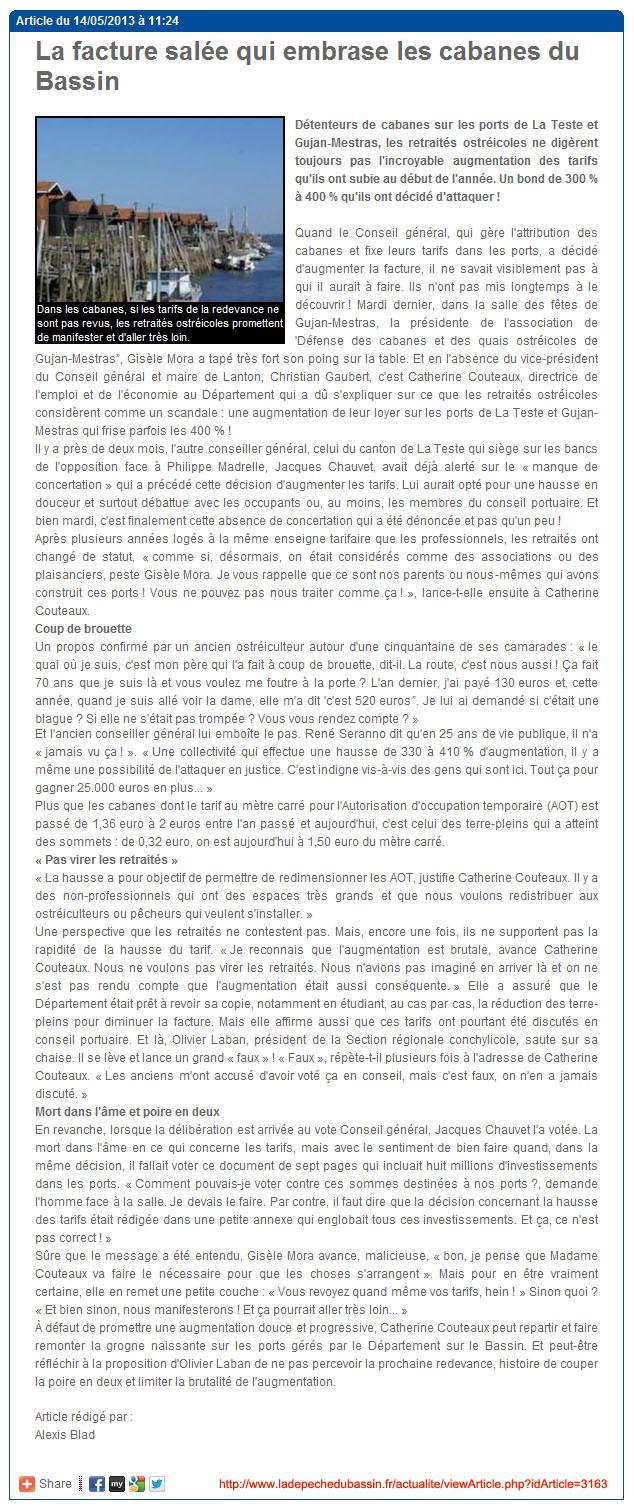 La facture salée qui embrase les cabanes du Bassin - LDDB 14 Mai 2013