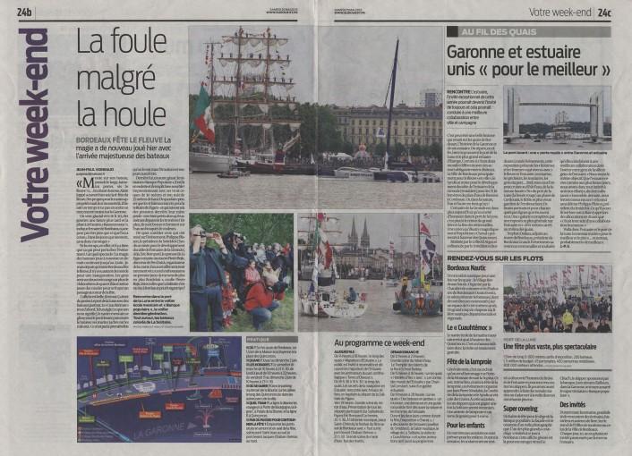 Sud-Ouest 25 Mai 2013- Bordeaux fête le fleuve