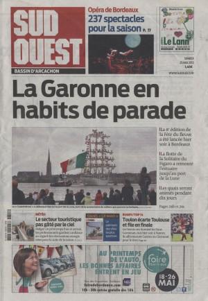 Une Sud-Ouest 25 Mai 2013- Bordeaux fête le fleuve