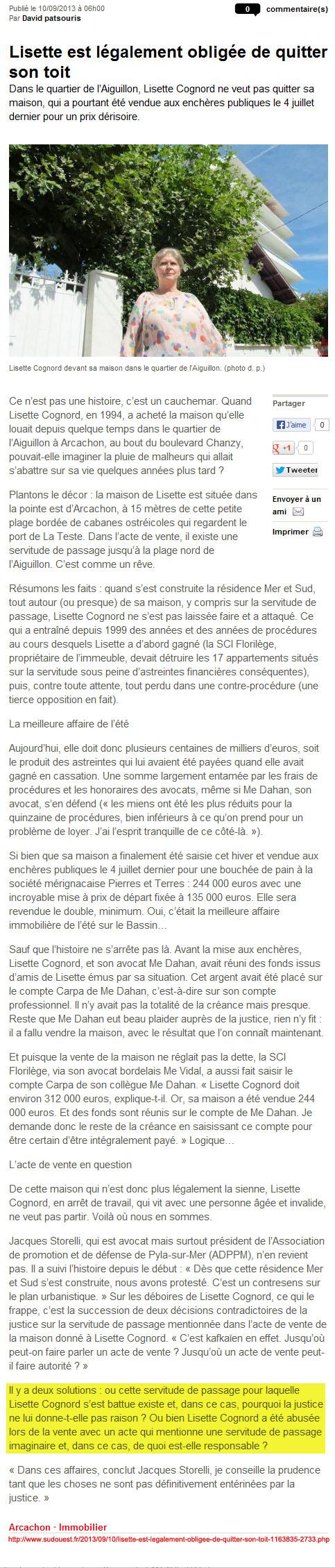 Lisette est légalement obligée de quitter son toit - Sud-Ouest du 10 Septembre 2013