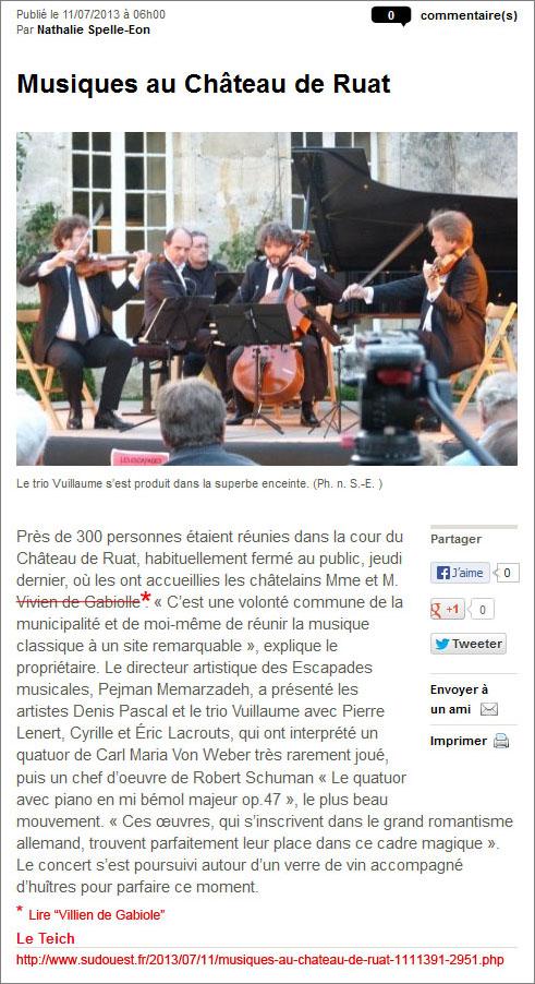 Musique au château de Ruat - Sud-Ouest. du 11 Juillet 2013