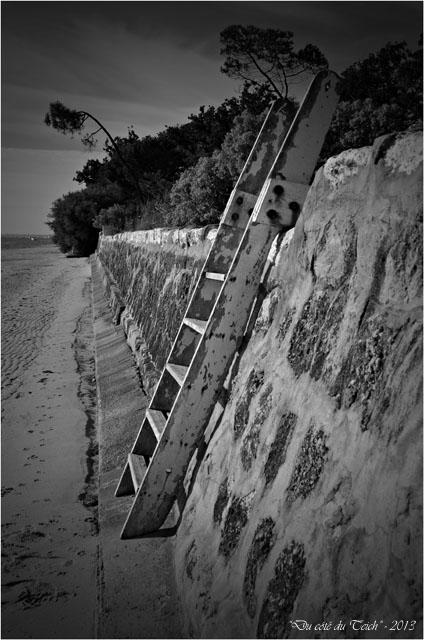 BLOG-DSC_24985-échelle plage Taussat N&B