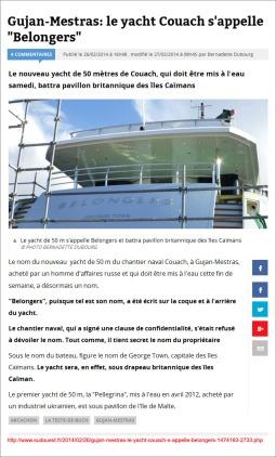 Gujan-Mestras- le yacht Couach s'appelle 'Belongers' - Sud-Ouest du 26 Février 2014