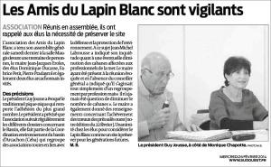 Les amis du Lapin Blanc sont vigilants - Sud-Ouest du 26 Février 2014