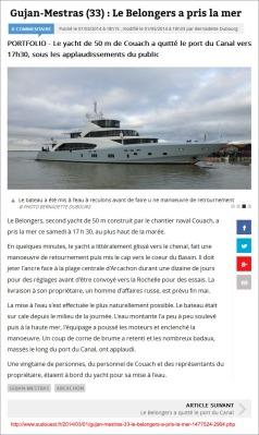 Le Belongers a pris la mer - Sud-Ouest fr du 1er Mars 2014