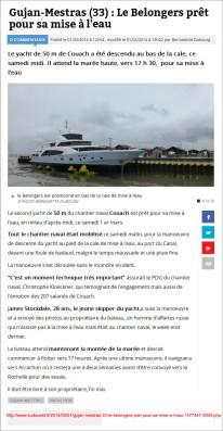 Le Belongers prêt pour sa mise à l'eau - Sud-Ouest fr du 1er Mars 2014