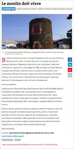 Le moulin de Larros doit vivre - Sud-Ouest du 02 Avril 2014 (modifié)