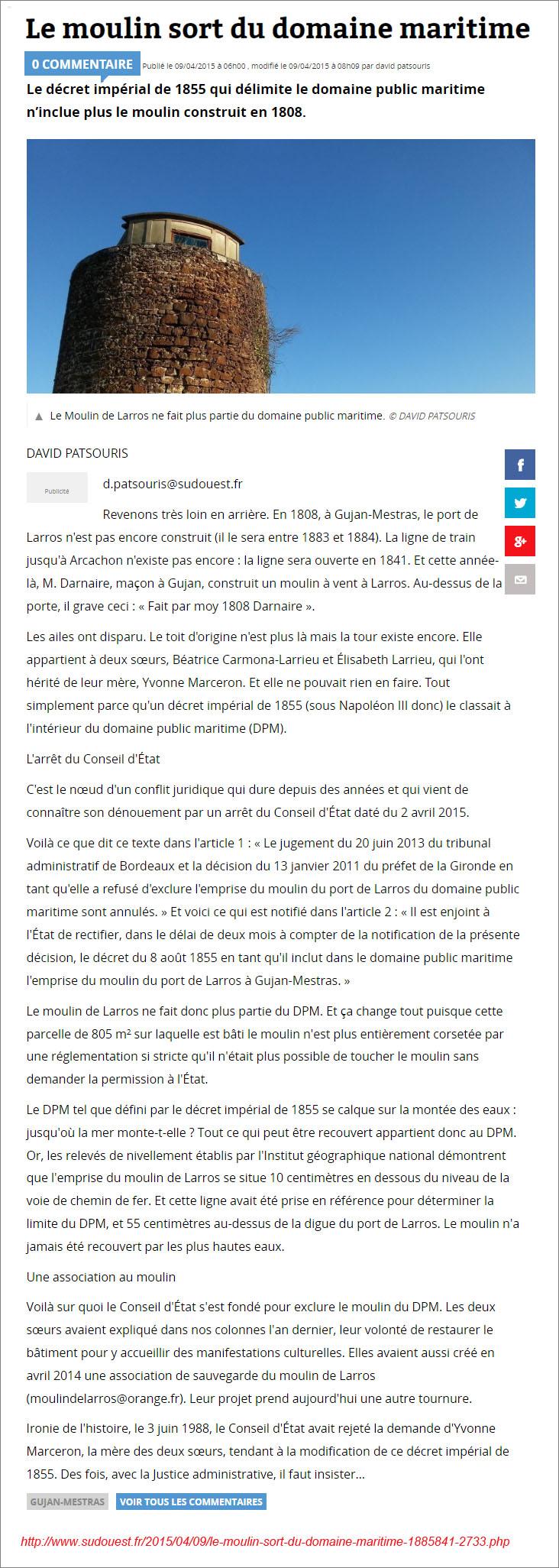 Le moulin de Larros sort du DPM - Sud-Ouest 9 Avril 2015.jpg