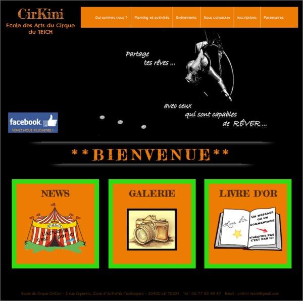 Page d'accueil site Cirkini le Teich