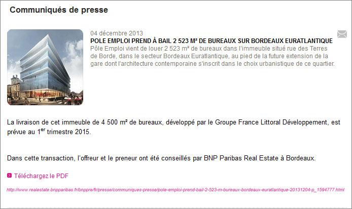 bail Pôle Emploi Bordeaux Euratlantique
