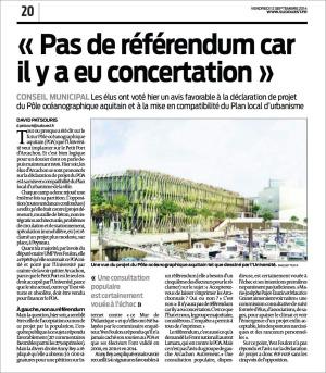 Pas de référendum car ily a eu concertation - Sud-Ouest du 12 Septembre 2014