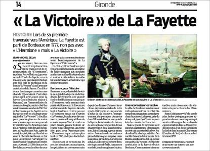 'La Victoire' de La Fayette - Sud-Ouest du 10 Octobre 2014