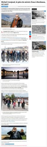 Michel Corajoud, le père du miroir d'eau à Bordeaux, est mort - Sud-Ouest fr du 29 Octobre 2014