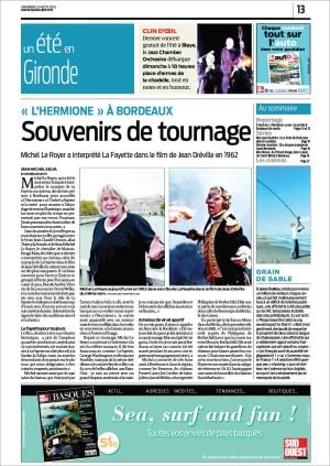 Sud-Ouest 21 Août 2015 - P13 - Hermione à Bordeaux