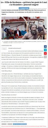 Le « Ville de Bordeaux » quittera les quais le 5 mai - SO du 25 Avril 2015