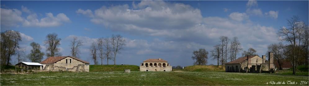 vestiges casernements Nord et Sud, boulangerie, corps de garde de le Gironde, chapelle, magasin à poudre