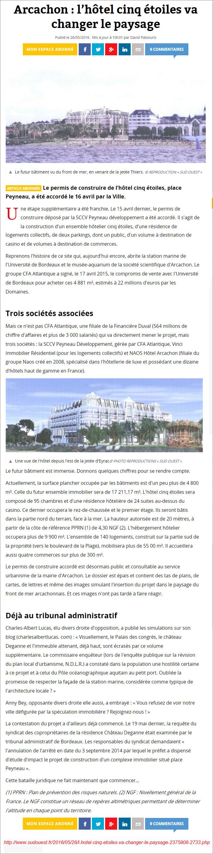 L'hôtel 5 étoiles va changer le paysage - Sud-Ouest du 26 Mai 2016