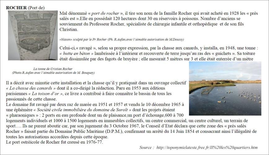 Port de Rocher - extrait du site Toponymie la Teste