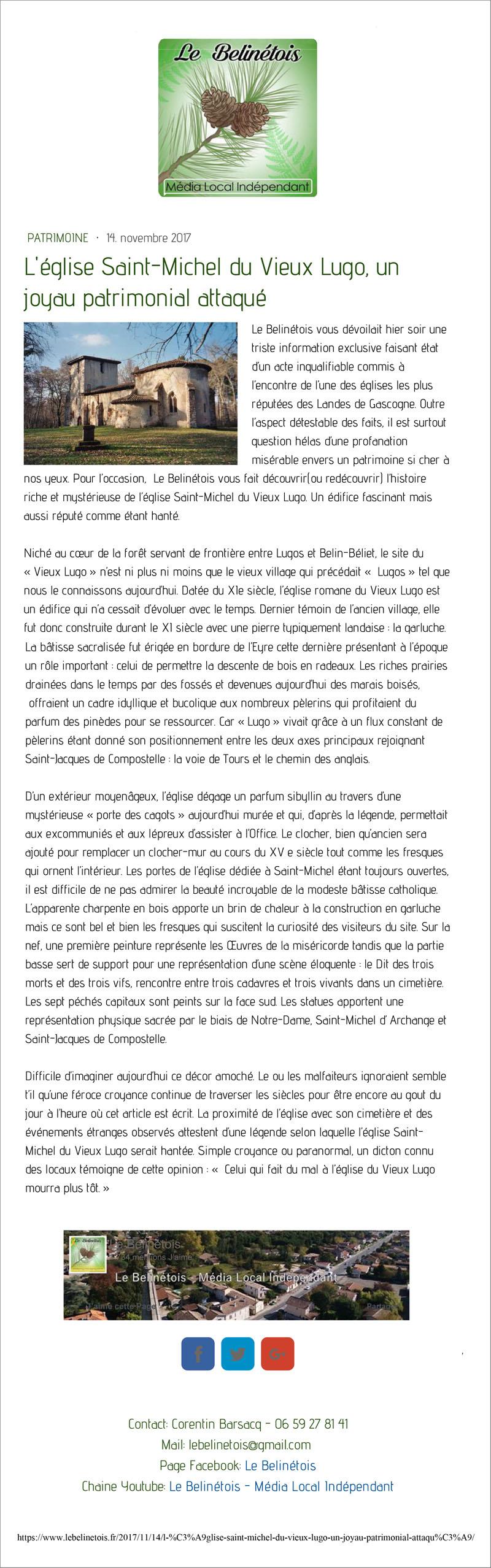 Article Le Bétinois du 14 Novembre 2017 : l'église Saint-Michel du Vieux Lugo, un joyau patrimonial attaqué