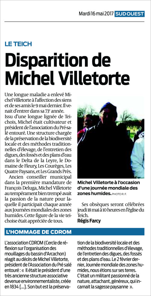Disparition Michel Villetorte - Sud-Ouest du 16 Mai 2017