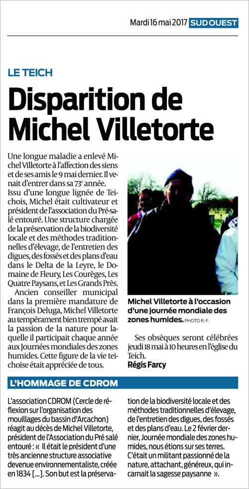 Disparition Michel Villetorte - Sud-Ouest du 16 Mai 2017