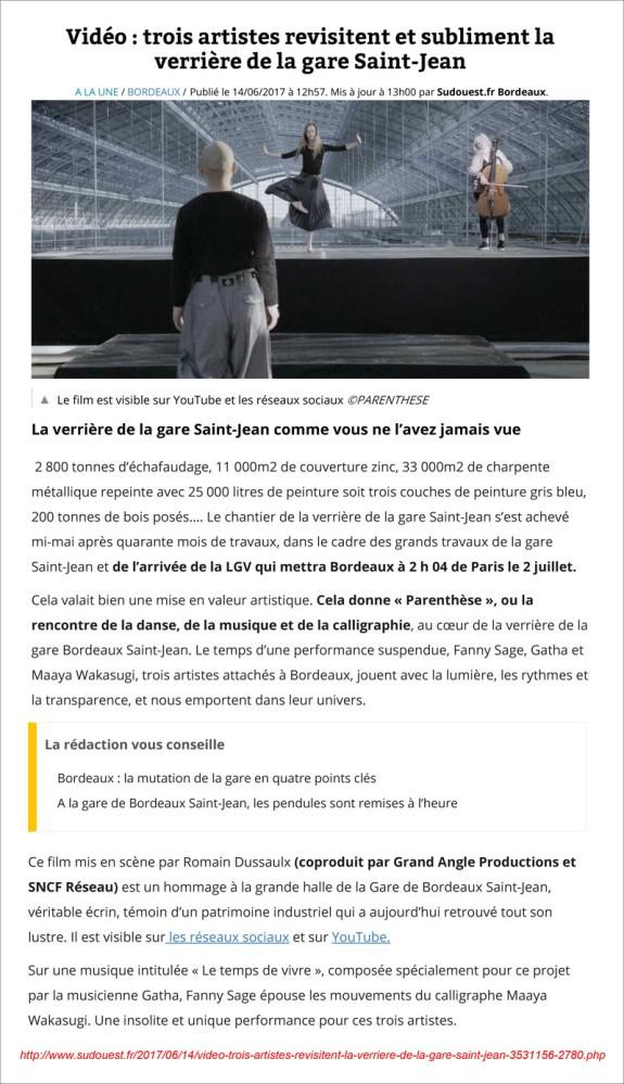 Sud-Ouest 14 Juin 2017 - Trois artistes revisitent la verriere de la gare Saint-Jean