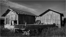 BLOG-P7280601-cabanes et vieux bac port du Canal N&B