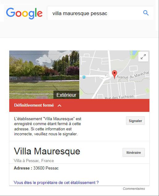 """Villa mauresque - """"Ets définitivement fermé"""""""
