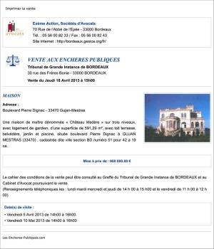 Vente aux enchères publiques 2013 - Château Madère