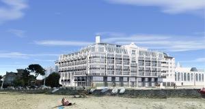 Projet hôtel casino Peyneau Arcachon, après démolition du Musée-Aquarium 1866 - Architecture Pelegrin - vue-depuis-la-plage